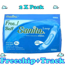 """2X10 PADS FREE BELT SANITARY TOWELS PACK LOOPED EXTRA LONG 12""""or 32cm HOSPITAL.b"""