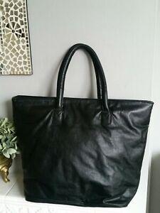 East Additions Large Real Leather Tote Shoulder Bag Black
