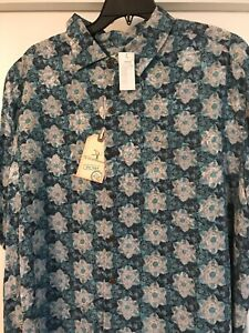 Mens Caribbean Camp Shirt S95WC452T Lt Grey Silk//Rayon Blend Sz XLT NWT Floral