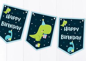 Dinosaur Happy Birthday Bunting  - Children's Party Decoration Banner / Garland