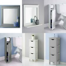 MAINE WALL BATHROOM MIRROR COSMETIC, 3 CHEST DRAWERS AND TOILET ROLL HOLDER WOOD