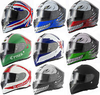 VCAN V127 BRITAIN HOLLOW SCOTLAND GREEN BLUE RED MOTORCYCLE  FULL FACE HELMET