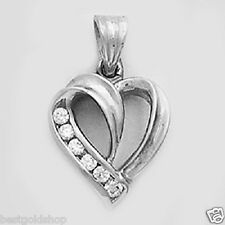 Fancy Open Heart Charm Pendant with CZ Solid 14K White Gold 1.9gr