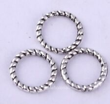 60 Pcs Tibetan Silver Twist-Ring Charm Link Rings Finding For Jewelry Making 8mm