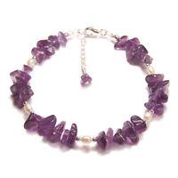 Sterling silver Amethyst pearl bracelet chip purple gemstone gem stone reiki