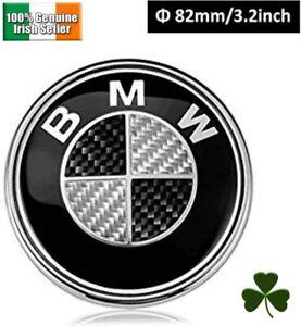 82MM BMW Bonnet Boot Emblem - Carbon Black & Silver badge