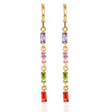 Women Multi-color CZ Gold Plated Zircon Long Drop Dangle Earrings Jewelry Girls