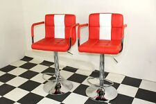 American Diner Retro Style Chair Furniture Kitchen Red X 2