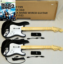 2 NEW Wired Fender Stratocaster Guitar & ROCK BAND 2 xBox 360 Video Game Set Kit