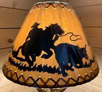 "PAIR (2 ea.) Rustic Oiled Kraft Laced Cowboy Lamp Shades - 18"""