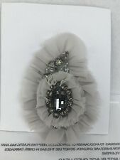"Brooch 5"" x 3 1/2"" Very Pretty New Cabi Gray Fabric and Rhinestones Pin or"