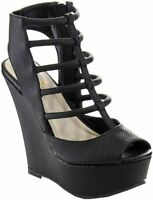 Betani Edith-5 Women's Cage Strappy Peep Toe Wedge Sandal, Black, 5.5 M US