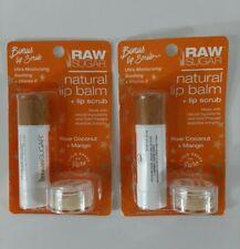 Raw Sugar Natural Lip Balm + Lip Scrub Raw Coconut + Mango Set Lot of 2