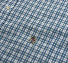 "Tommy Hilfiger Shirt Crest Logo Mens Size XL 48"" Blue Plaid Check Short Sleeve"