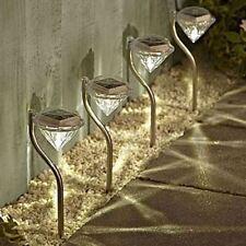4 x Stainless Steel Garden Diamond Stake Lights Solar Powered Border Lanterns