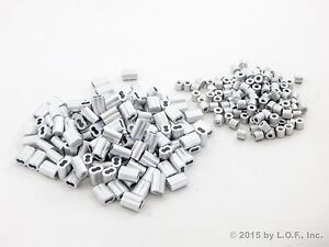 100 Ferrule 1/8 Double Barrel Aluminum Cable Snare Wire Swage +100 Line Stop End
