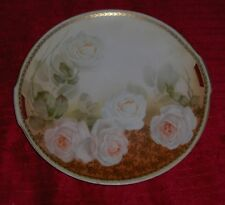 Vtg RS Germany Hand Painted Roses Plate Side Handles Cake Dish Dinner Plate