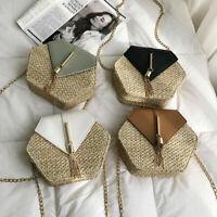 US Women Summer Straw Shoulder Bags Rattan Bag Handwoven Beach Crossbody Handbag