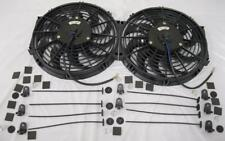 "Dual 12"" S-Blade High Performance Electric Radiator Cooling Fans + Mounting Kit"