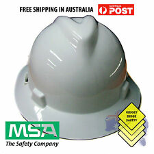 MSA Full Brim Hard Hat Head Protection White suspension Vgard