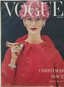 1955 Vogue magazine front cover only brunette red dress pink hat Christmas