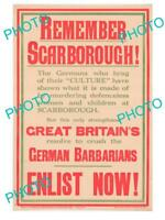 OLD HISTORIC PHOTO OF WWI ALLIES MILITARY POSTER REMEMBER SCARBOROUGH ENLIST