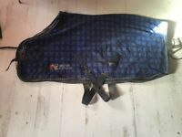4ft6 British Eventing BE blue Check Show Stable Travel Rug NEEDS CLEANING