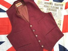 Vintage SINCERITY Men's 4 Pocket Maroon Blue 5 Button Waistcoat ~ Size 38""