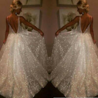 Women Backless V Neck Sleeveless Sling Party Sheath Long Dress Bridemaid Dress
