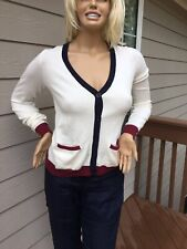 NWT Women Cardigan US Polo Assn Size L White Button Up V Neck Long Sleeve