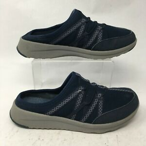 Clarks Womens 8W Darleigh Myra Mule Sneakers Slip On Shoes Blue Mesh Round Toe