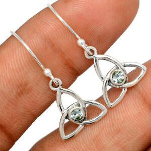 Celtic - Blue Topaz 925 Sterling Silver Earrings Jewelry BE62304