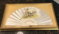 Antique Hand Painted Silk And Ivory Fan (Framed)