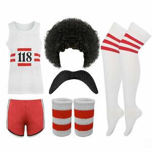Mens Womens 118 Print Fancy Dress Outfit Sports Marathon Shorts Vest Wig Lot