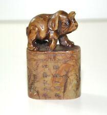 Antik Chinesisch Shoushan Stein Siegel Stempel Figur Elefant