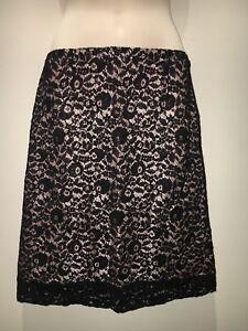 Lanvin Paris Stunning Black Lace A-line Skirt Lined Size EU 36 M Fit AU 8 10