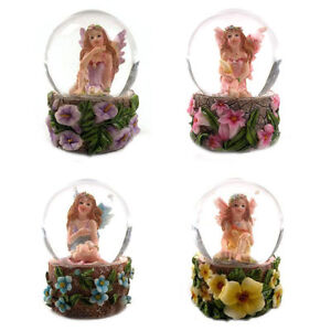 Cute Beautiful Mini Flower Fairy Snow Globe Waterball, 4 Pretty Colours