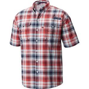 Columbia Mens Super Bahama Red Plaid Button-Down Shirt Athletic XL BHFO 8629
