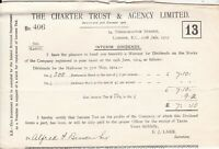 THE CHARTER TRUST & AGENCY LIMITED 1914 London. Interim Dividends Slip Ref 45892