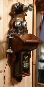 Antique Wooden Long Pole L. M. Ericsson Wall Magneto telephone 1890's