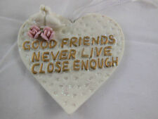 """Heart Ornament Porcelain Bisque 3.25"""" with dove & flowers ornament Friend Gift"""