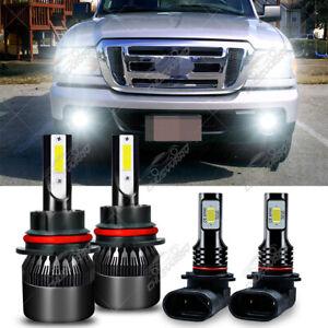 For Ford Ranger 2001-2011 -4X 6000K LED Headlight High /Low Beam+Fog Light Bulbs