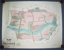 Architekten Handzeichnung Plan der Flur Helberg 1877 bei Merkwitz Taucha !