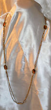 Sarah Coventry Gold Tone & Amber Crystal Pendant Necklace