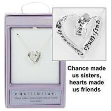 EquIlibrium Sis Sister Sisters Friends Hearts Silver Plated Necklace Chain 49743