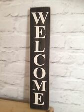 Welcome Sign plaque Vintage Old Look Wood Home Pub Hotel Hand Made Shabby Chic
