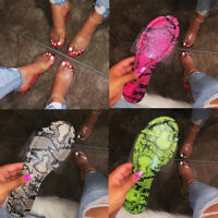 Women Fashion Summer Flat Snakeskin Transparent Slippers Slip On Sandals Shoes