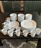 Create & Barrel Palazzo White Dinnerware Plates, Bowls & Coffee Mug China Set