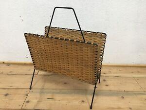 50er 60er Jahre String Design Rattan Zeitungsständer