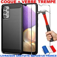 Coque Samsung A12 A21s A31 A32 A41 A51 A52 A72 Noir Carbone + Verre Trempé Vitre